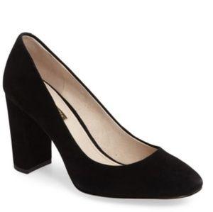 Louise et Cie Black Suede stacked heel